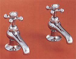 Superieur 4 Spoke Handle Separate Hot And Cold Faucet Set   Chrome
