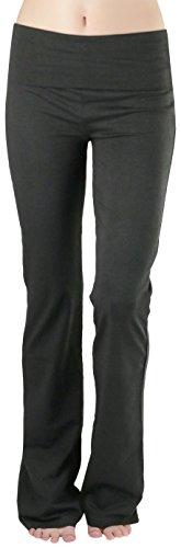ToBeInStyle Women's Premium Fold Over Yoga Flare Pants - AshGrey - Large ()