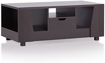 Furniture of America Callan Modern 1-Drawer Rectangular Coffee Table with 3 Open and 2 Shelves On Side, 47 , Espresso
