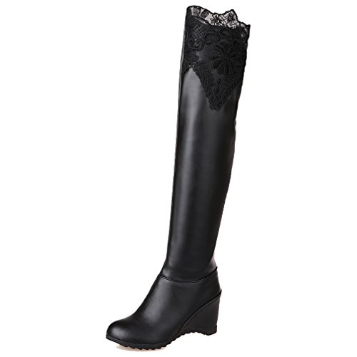 ENMAYER Womens Closed Round Toe Pu Soft Material Wedge Boots With Bud Silk Black
