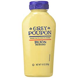 Grey Poupon Dijon Mustard (10 oz Bottle) 103 One 10 oz. bottle of Grey Poupon Dijon Mustard Grey Poupon Dijon Mustard uses the finest ingredients for a gourmet condiment #1 Grade Mustard Seeds and spices provide strong, delicious flavor