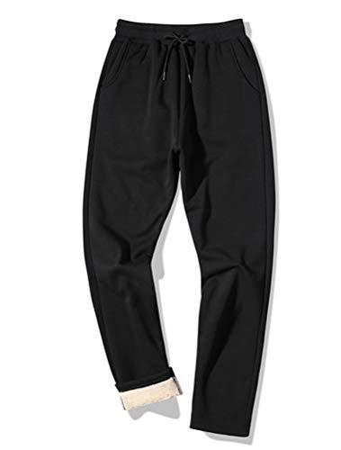 ROBO Men's Winter Fleece Pants Sherpa Lined Sweatpants Running Jogger Warm Pants Black