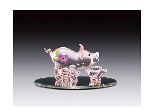 Blown Pig Glass (Everspring Imports Painted Blown Glass Pig Family on Oval Mirror Figurine)