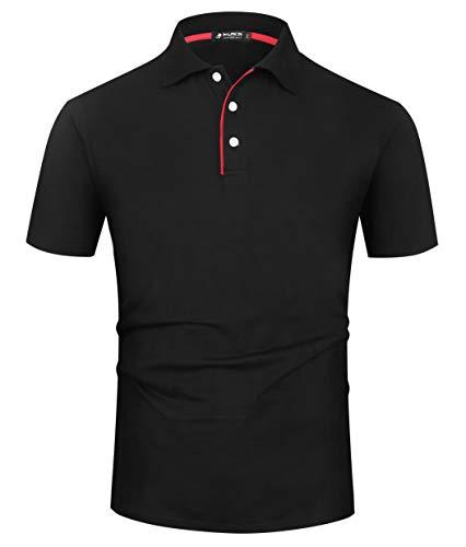 (Musen Men Casual Polo Shirts Cotton Classic Fit Short Sleeve T-Shirt Black S)