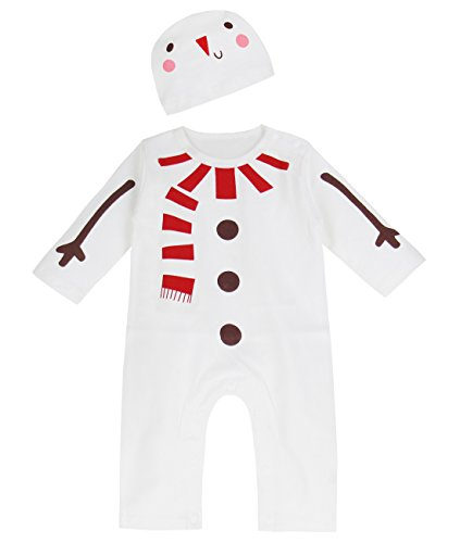 A&J Design Baby Boys' Christmas Fun Outfit Jumpsuit with Hat (18-24 Months, Snowman)