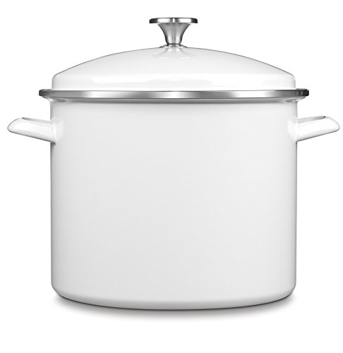 Cuisinart EOS126-28W Chef's Classic Enamel on Steel Stockpot with Cover, 12-Quart, White
