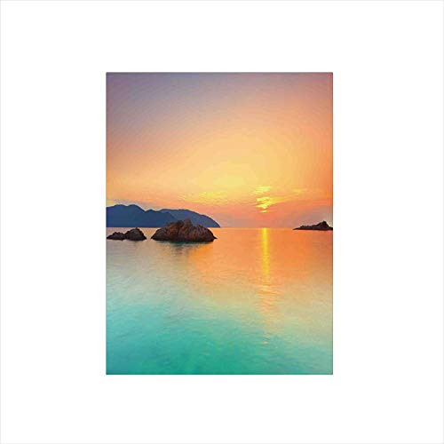 (Ylljy00 Decorative Privacy Window Film/Magical Sunrise Over The Sea in Con Dao Vietnam Colorful Sky Reflection on Sea Horizon/No-Glue Self Static Cling for Home Bedroom Bathroom Kitchen Office Decor)