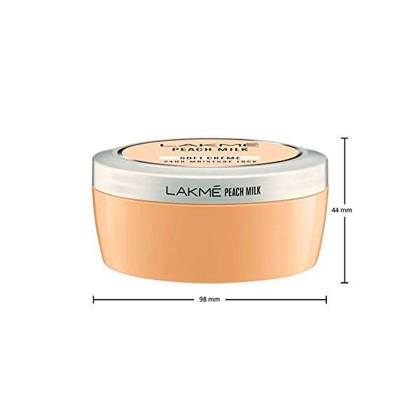 Lakme Peach Milk Soft Creme Moisturizer, Lightweight Face Cream, Non Sticky, Locks Moisture For 24 Hours For Soft And… 2021 June Infused with the goodness of peaches and milk This light moisturizer has a soothing fragrance It easily absorbs into the skin to lock moisture for 24 hours to give you soft, glowing skin
