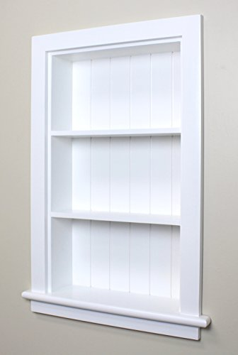 14x24 White Recessed Wall Niche by Fox Hollow Furnishings - (also available in Dark Brown, Gray, and Unfinished) - Wall Niche Shelf