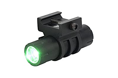 100 Lumens Green Light LED Ultra-Compact Flashlight with Rail Mount and Detachable Remote Pressure Switch (Black with Green Light LED)
