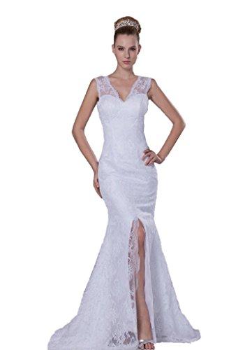 La Sirène Dzdress V-cou Féminin Divisé Robe De Mariée Long Train Blanc