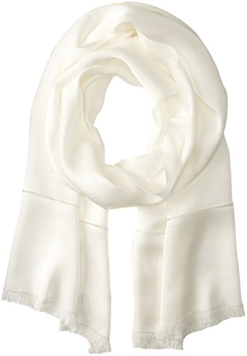 Echo Women's Metallic Edge Silk Evening Wrap, White, One Size by Echo Design