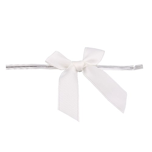 100 Piece Bow 25 Span X 175 Tails Twist Tie RibbonBow Twist Tie for Bakery Candy Lollipop Cello Bag 1/2quot WHITE