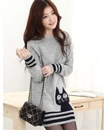 Stylish Thigh Length Cotton Blends Cat Pattern Round Collar Long Sleeve Women Sweater