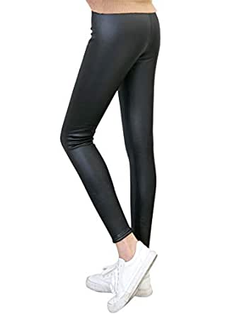 TOCONFFON Women's Stretchy Faux Leather Leggings Pants Fleece Lined Tights(Black,XL)