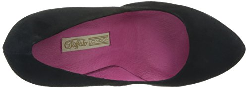 Buffalo London 9669-177 BL KID SUEDE 115652, Scarpe eleganti donna Nero