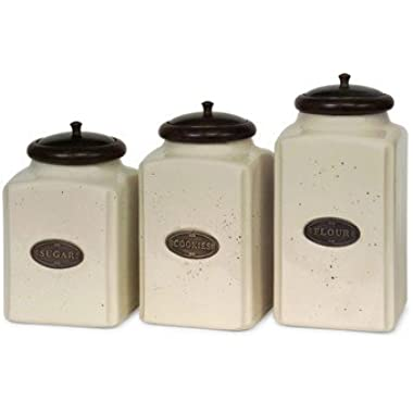 IMAX 5358-3 Ivory Canisters, Set of 3