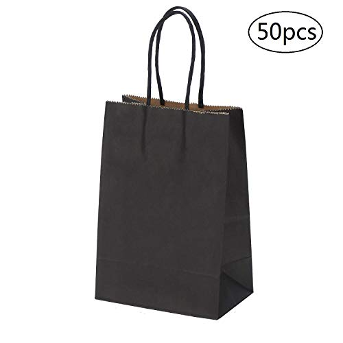 Liwii Kraft Paper Bags 5.25x3.25x8 Inches 50pcs Black Paper Gift Bags,Shopping Bags, Retail Bags, Craft Paper Bags, Merchandise Bags, Party Bags with Handle
