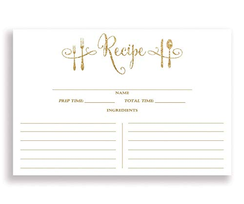 White and Gold Recipe Cards (Set of 25) 4x6 inches. Double Sided Thick Card Stock Elegant White and Gold Glitter Calligraphy Recipe Cards | Mila White