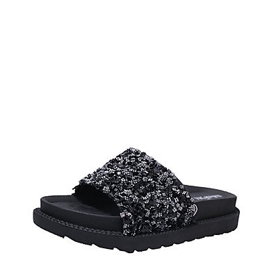 LvYuan Mujer Sandalias Confort PU Verano Confort Tacón Plano Negro Plata 5 - 7 cms Black