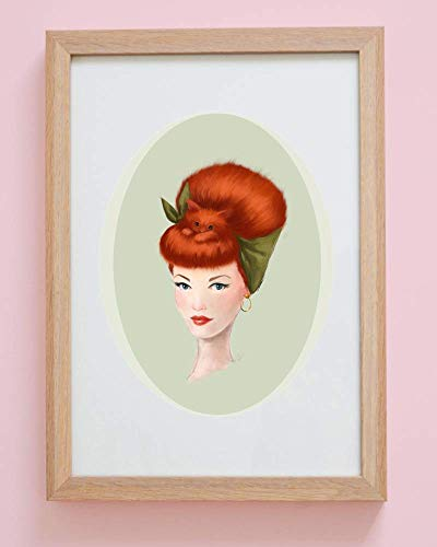 Pinup Girl with Kitty Cat in her Hair VIVIAN Art Print Poster UNFRAMED