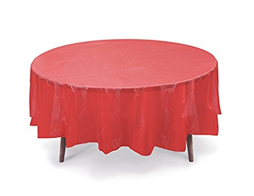 12 Pack 84'' ROUND Table Cover Premium Plastic Tablecloth for any Party or Event (Red) by SpinZ