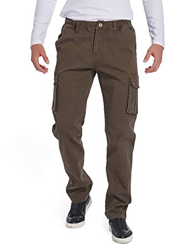 Eaglide Men's Outdoor Elastic Cargo Pant, Mens Pockets Cotton Tactical Pants (Dark Coffee, 30W × 32L) ()