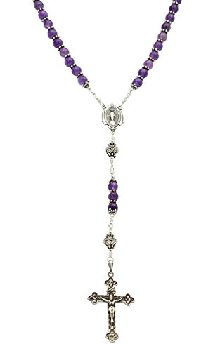 Sterling Silver Rosary, Amethyst 6mm, Crucifix & Miraculous Medal, 23