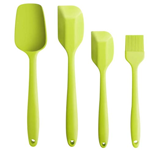 MarMmy 4 Pack Kitchen Silicone Spatula Spoonula Brush Set 600°F Heat Resistant Seamless Non-Stick Stainless Steel Core Utensils Tools for Cooking Baking Mixing (Cooking And Baking)