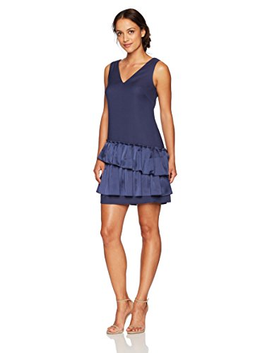Eliza J Women's V-Neck Dress Pleated Hem (Regular & Petite), Navy, 14P