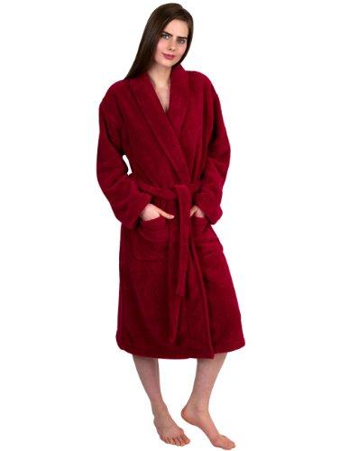 TowelSelections Women's Super Soft Plush Bathrobe Fleece Spa Robe Medium/Large Garnet Red