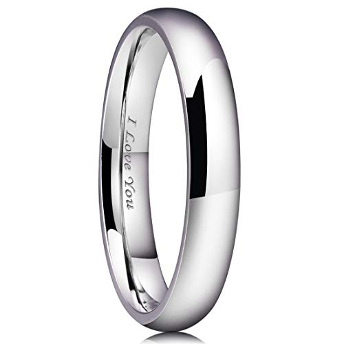 (King Will Basic 4mm Stainless Steel Ring Original Color Full High Polished with Laser Etched I Love You 7)