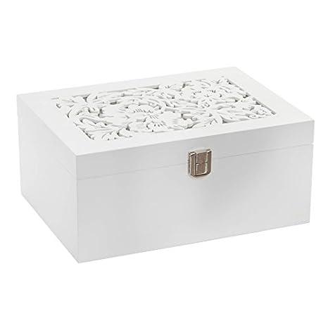 39ffb85fc56b Dcasa - Caja joyero moderna blanca de madera para dormitorio.  Amazon.es   Hogar