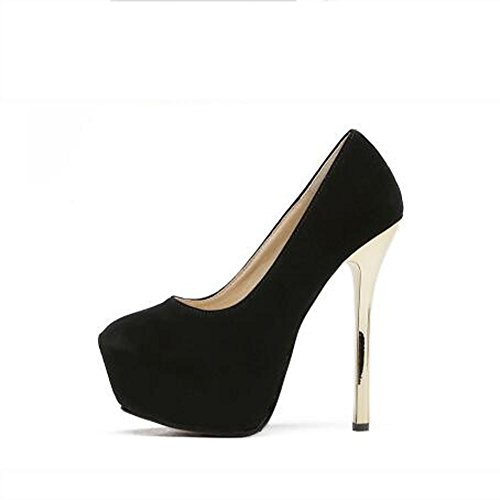 L@YC Frauen-Patent-wasserdichte hohe Abs?tze spitzte bequeme einzelne Schuhe Partei / Kleid / Schwarzes / Rot Black