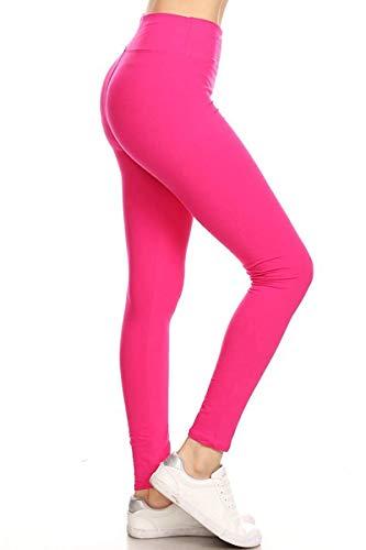 LYR128-NEONFUCHSIA Yoga Solid Leggings, One Size