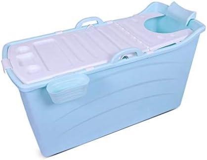 大人の折り畳み式の浴槽ポータブルバスタブ、家庭プラスチックホットタブ大型プラスチックバスタブノンスリップ断熱 (Color : Blue, Size : B)