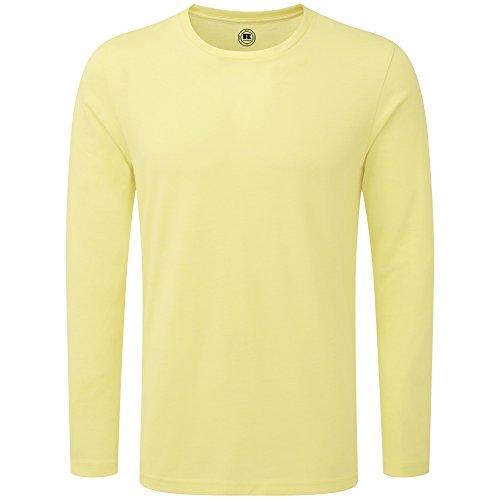Russell - Camiseta de manga larga Modelo HD hombre caballero Amarillo jaspeado