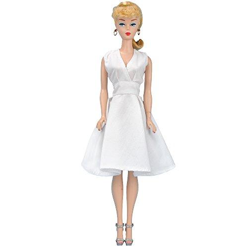 (E-TING Handmade Fashion Doll Clothes Short Skirt Captivating Wears Dress for Girl Dolls (White Attractive V Collar Dress) )