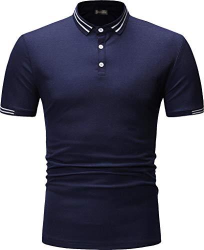 (Sportides Mens Polo Shirts Contrast Collar Golf Tennis Short Sleeve Shirt Tops JZA466 Navy XS )