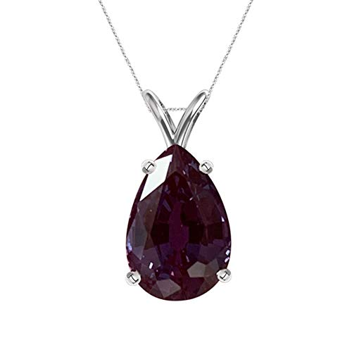 3.92-4.28 Cts of 12x8 mm AAA Pear Cut Lab Created Russian Alexandrite Solitaire Pendant in 14K White Gold