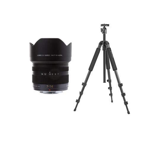 Panasonic Lumix G Vario 7-14mm f/4 Zoom Lens for Micro Four Thirds Lens Mount - with Slik Pro II 4-Section Aluminum Tripod with BallHead, Gunmetal,
