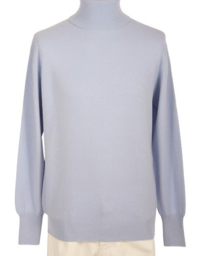 - Shephe Men's Turtleneck Cashmere Sweater Sky Blue Medium