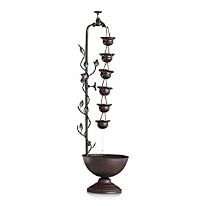 Alpine Metal Hanging 6-Cup Tier Layered Fountain, 36 Inch Tall