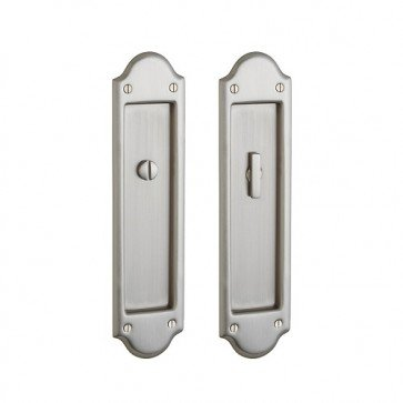 (Baldwin PD016.PS Boulder Style Pocket Door Passage Trim Pair from the Estate Col, Satin Nickel)