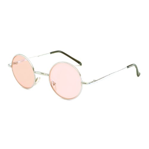 John Lennon Vintage Style Round Silver Hippie Party Shades Sunglasses PINK - Color Eye John Lennon