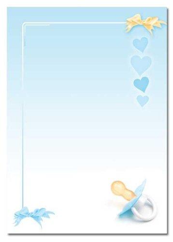 Motivpapier - Briefpapier BABY SCHNULLER (BLAU) 50 Blatt DIN A4 90g ...