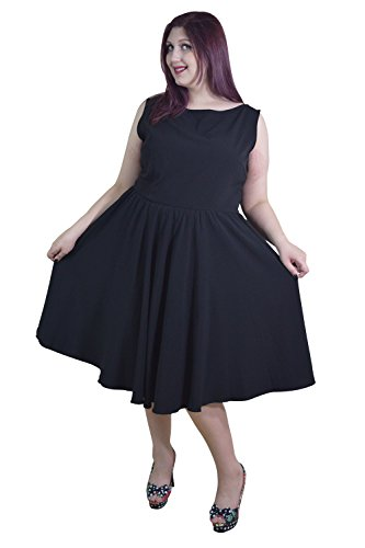Skelapparel-Plus-Size-60s-Vintage-Design-Black-Sleeveless-Flare-Swing-Dress