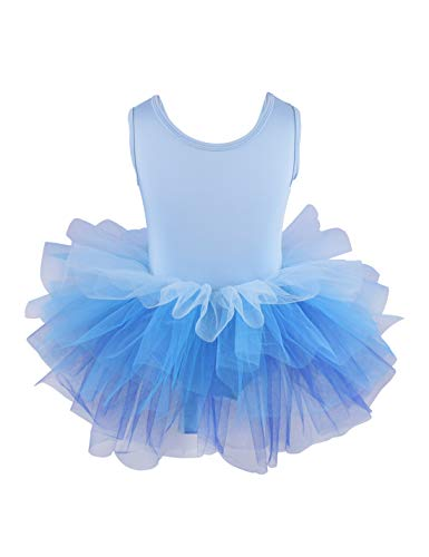 Girls' Camisole Dance Tutu Leotard with Fluffy 5-Layers Ballet Dress for Dance, Gymnastics and Ballet 7-8 Years Blue