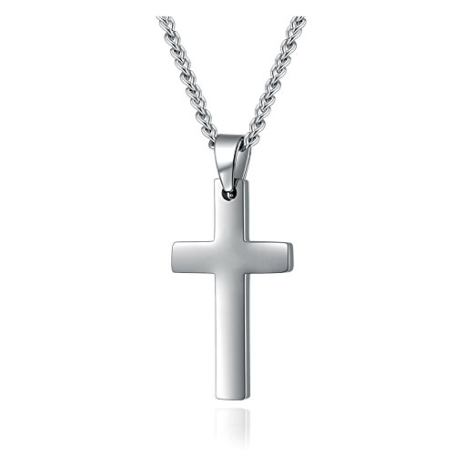 Mens Womens Simple Cross Pendant Stainless Steel Titanium Necklace (Silver-tone)