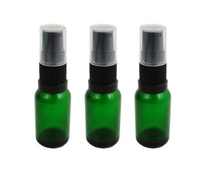 Verde de botellas de cristal 15 ml Color Negro con bomba de suero – Pack de
